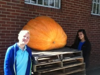 Two girls and a 501 pound pumpkin