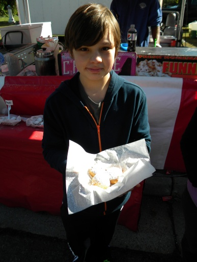 AJ & his custom fried mix - one deep fried Reese's, one deep fried Oreo and one deep fried Cookie Dough ball