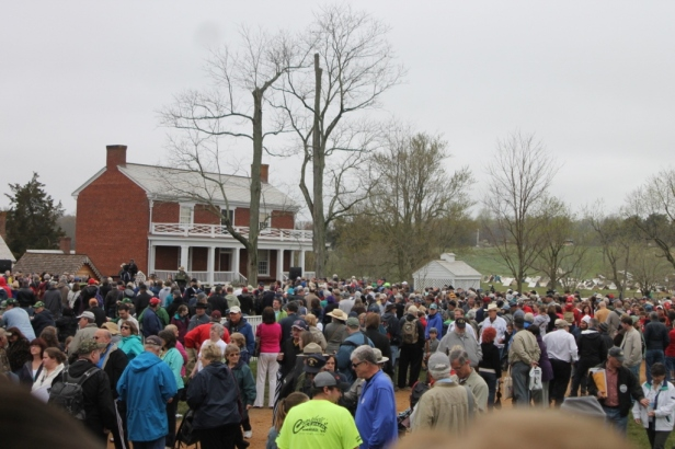 The crowds gathered around McLean House for the surrender reenactment