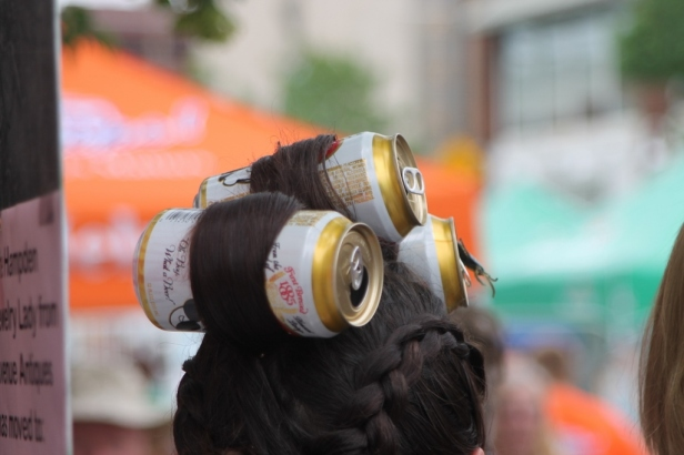 We saw a few hairdos like this, but this was the only one with Natty Bo Cans