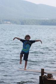 Owen practicing his karate kid moves