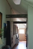 Upstairs hallway with reclaimed timbers