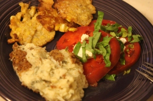 Dinner! Squash casserole, corn fritters and sliced tomatoes with basil and Caromount Farm's goat cheese