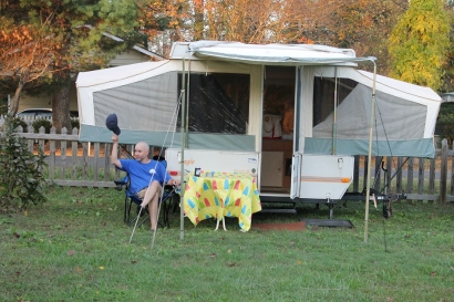 Pat enjoying his camper patio