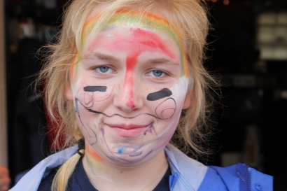 Parade face paint.