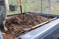 A pickup truck full of mulch
